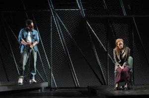 Dead Man Walking: Michael Mayes as Joseph De Rocher and Jennifer Rivera as Sister Helen Prejean. Photo by Mark Kiryluk.