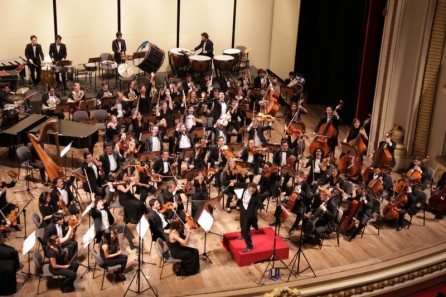 Carlos Miguel Prieto with one of his orchestras.