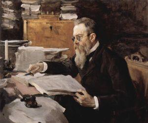 Composer Nikolai Rimsky-Korsakov. Portrait by Valentine Serov.