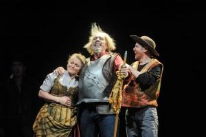 Man of La Mancha: Lucy Schaufer (Aldonza), Robert Orth (Don Quixote/Cervantes), Keith Jameson (Sancho Panza). Photo by Kira Horvath.