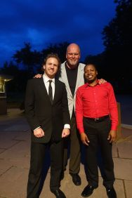 Terrence Wilson (right) with conductor David Danzmayer (l) and composer Michael Daugherty (c) following the performance of