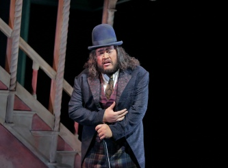 Quinn Kelsey (Rigoletto) in 'Rigoletto.' Photo (c) Ken Howard for The Santa Fe Opera