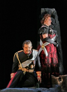 Sal.24 Robert Brubaker (Herod) and Michaela Martens (Herodias) in 'Salome.' Photo © Ken Howard for Santa Fe Opera