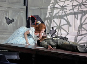 Alex Penda (Salome) and Ryan McKinny (Jochanaan) in 'Salome.' Photo © Ken Howard for Santa Fe Opera