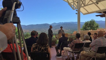 Librettist ark Campbell (left) and composer Mason Bates (right) at the Santa Fe Opera press conference announcing the premiere of Bates's