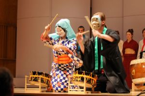 Japanese dancers/drummers  (Photo by Glenn Asakawa/University of Colorado)