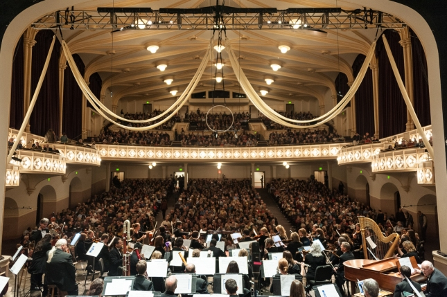 The crowd at Macky Auditorium from the stage - Glenn Ross Photo