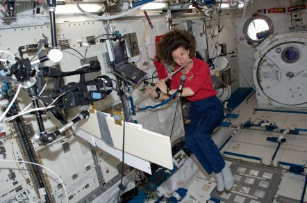 ISS27_Catherine_Coleman_plays_a_flute